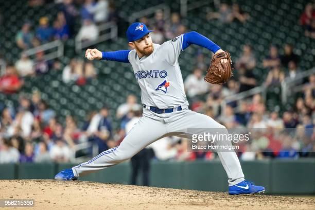 Danny Barnes of the Toronto Blue Jays pitches against the Minnesota Twins on April 30 2018 at Target Field in Minneapolis Minnesota The Blue Jays...