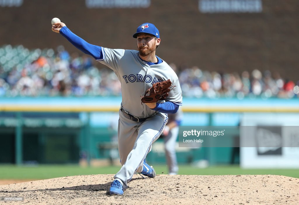 Danny Barnes #24 of the Toronto Blue Jays pitches during the eighth inning of the game against the Detroit Tigers at Comerica Park on June 3, 2018 in Detroit, Michigan.