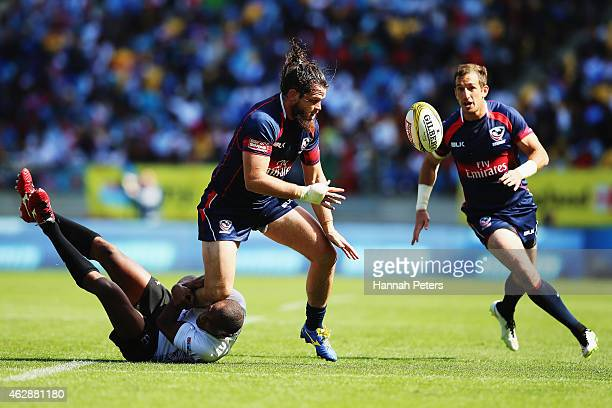 Danny Barrett of USA charges forward during the Plate Semi Final match between Fiji and USA in the 2015 Wellington Sevens at Westpac Stadium on...