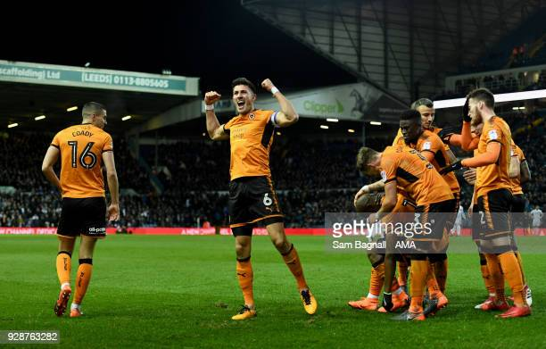 Danny Batth of Wolverhampton Wanderers celebrates after Benik Afobe of Wolverhampton Wanderers after scored a goal to make it 03 during the Sky Bet...