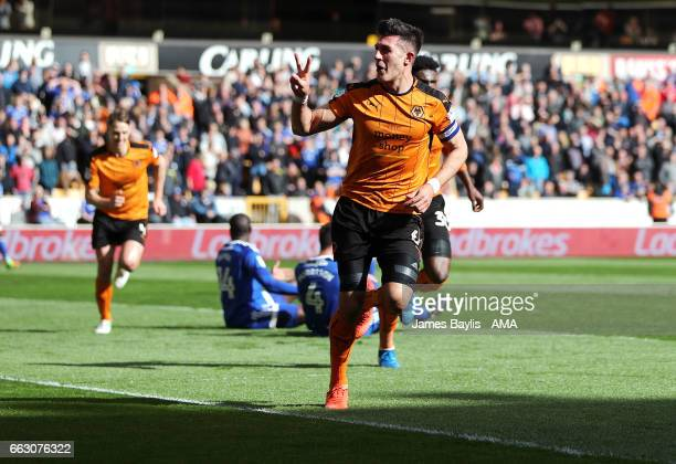 Danny Batth of Wolverhampton Wanderers celebrates after scoring a goal to make it 2-1 during the Sky Bet Championship match between Wolverhampton...