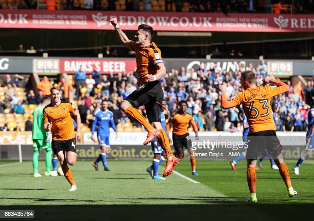 Danny Batth of Wolverhampton Wanderers celebrates after scoring a goal to make it 1-0 during the Sky Bet Championship match between Wolverhampton...