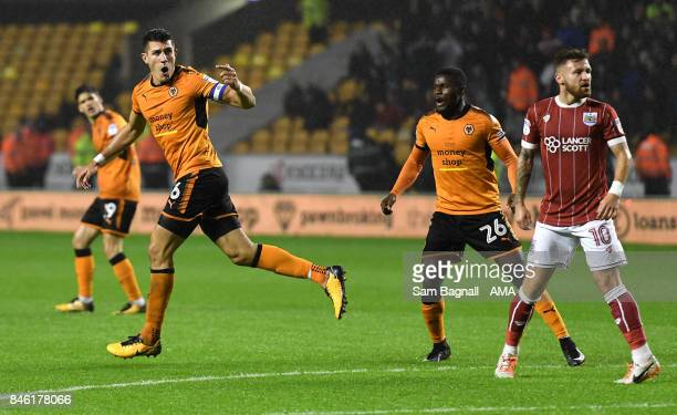 Danny Batth of Wolverhampton Wanderers celebrates after scoring a goal to make it 33 during the Sky Bet Championship match between Wolverhampton and...
