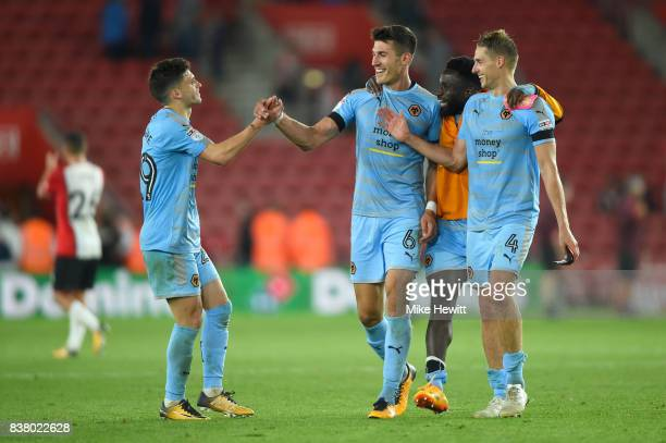 Danny Batth of Wolverhampton Wanderers celebrates victory with his team mates after the Carabao Cup Second Round match between Southampton and...