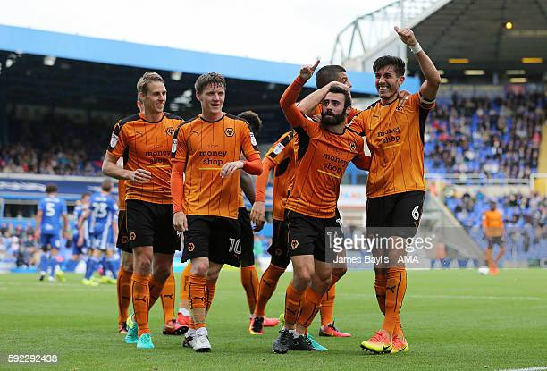 Danny Batth of Wolverhampton Wanderers celebrates with his team mates after scoring a goal to make it 12 during the Sky Bet Championship match...