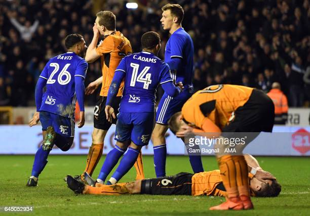 Danny Batth of Wolverhampton Wanderers lies dejected at full time during the Sky Bet Championship match between Wolverhampton Wanderers and...