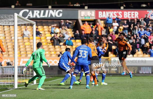 Danny Batth of Wolverhampton Wanderers scores a goal to make it 1-0 during the Sky Bet Championship match between Wolverhampton Wanderers and Cardiff...