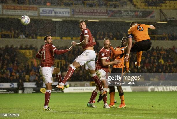 Danny Batth of Wolverhampton Wanderers scores a goal to make it 33 during the Sky Bet Championship match between Wolverhampton and Bristol City at...