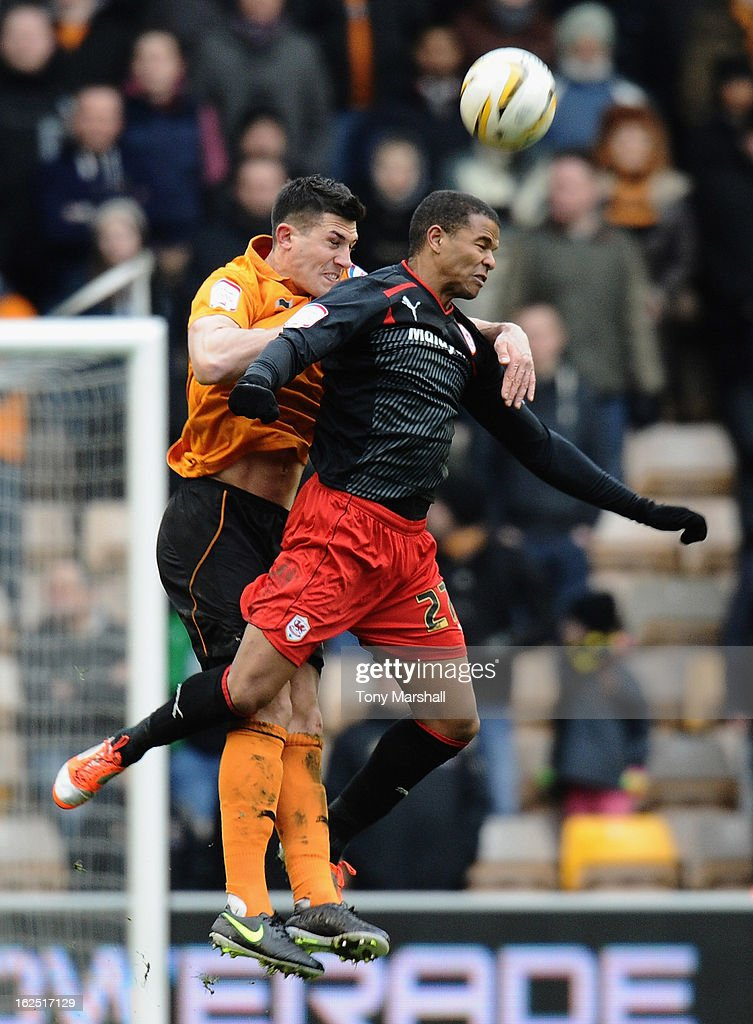 Danny Batth of Wolves challenges Fraizer Campbell of Cardiff during the npower Championship match between Wolverhampton Wanderers and Cardiff City at Molineux on February 24, 2013 in Wolverhampton, England.