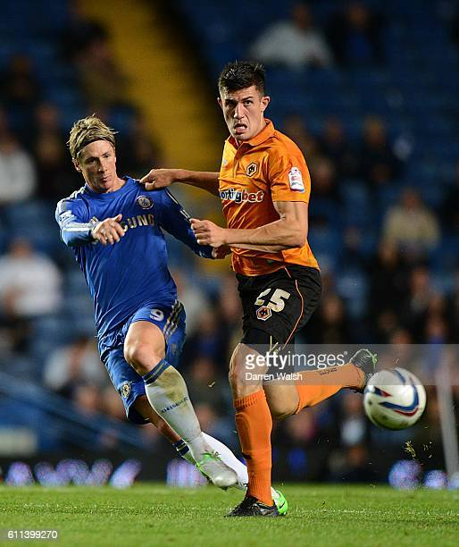 Danny Batth Wolverhampton Wanderers and Fernando Torres Chelsea battle for the ball
