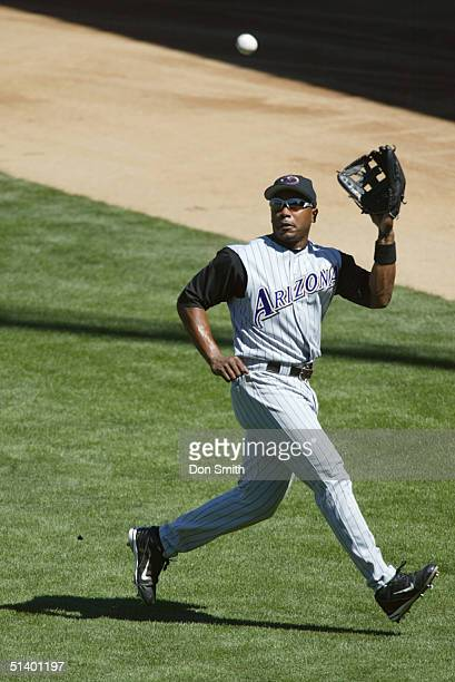 Danny Bautista of the Arizona Diamondbacks fields during the MLB game against the San Francisco Giants at SBC Park on September 4 2004 The Giants...