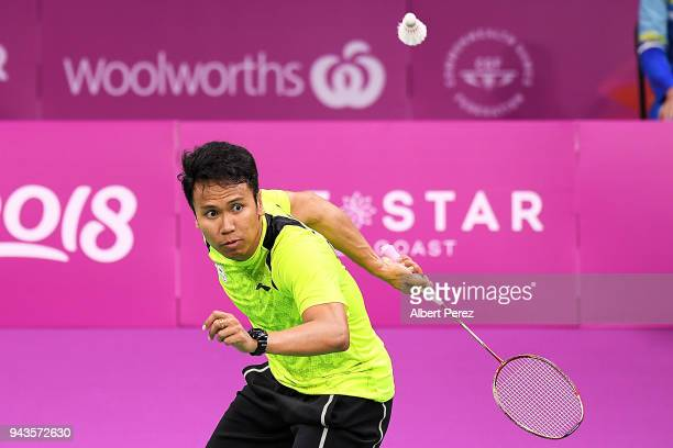 Danny Bawa Chrisnanta of Singapore competes in the Badminton Mixed Team bronze medal match against Marcus Ellis and Chris Langridge of England on day...