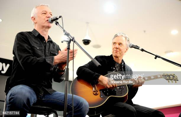 Danny Bowes and Ben Matthews of Thunder performs live and signs copies of their new album 'Rip it Up' at HMV Manchester on February 16, 2017 in...
