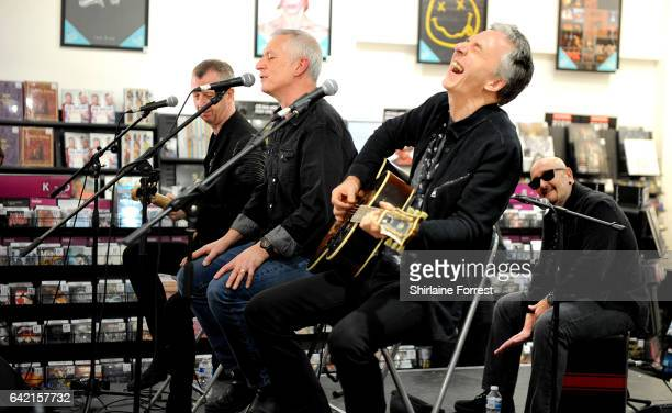Danny Bowes, Ben Matthews, Chris Childs and Harry James of Thunder perform live and sign copies of their new album 'Rip it Up' at HMV Manchester on...