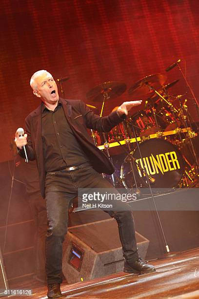 Danny Bowes of Thunder performs at Motorpoint Arena on February 19 2016 in Sheffield England