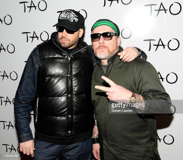 Danny Boy and Everlast of House of Pain arrive to celebrate St Patrick's Day at the Tao Nightclub at the Venetian Resort Hotel Casino on March 17...