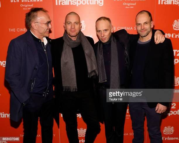 Danny Boyle Ewan McGregor Ewen Bremner and Jonny Lee Miller attend the New York premiere of 'T2 Trainspotting' at Landmark Sunshine Cinema on March...