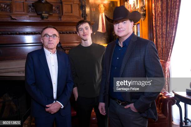 Danny Boyle Harris Dickinson and Brendan Fraser attend the FX Networks' Trust cast lunch at The Lotos Club on March 15 2018 in New York City