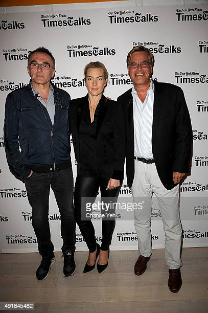 Danny Boyle Kate Winslet and Aaron Sorkin attend TimesTalks presents Steve Jobs at TheTimesCenter on October 7 2015 in New York City