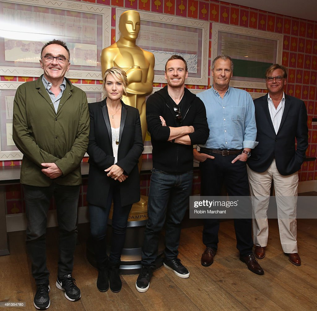 Danny Boyle, Kate Winslet, Michael Fassbender, Jeff Daniels and Aaron Sorkin attend the Academy of Motion Picture Arts and Sciences hosts an official Academy screening of 'Steve Jobs' at Crosby Hotel on October 4, 2015 in New York City.