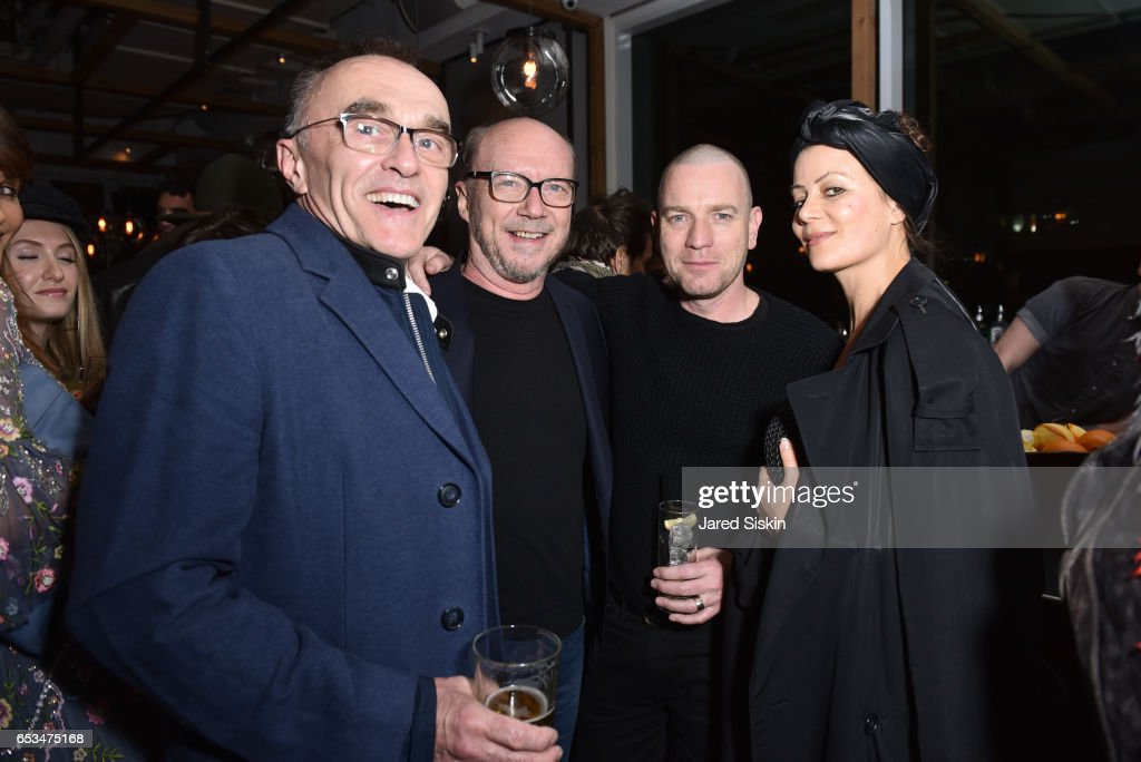 Danny Boyle, Paul Haggis, Camilla Staerk and Ewan McGregor attend TriStar Pictures & The Cinema Society with 19 Crimes Host the After Party for 'T2 Trainspotting' at Mr. Purple at the Hotel Indigo LES on March 14, 2017 in New York City.