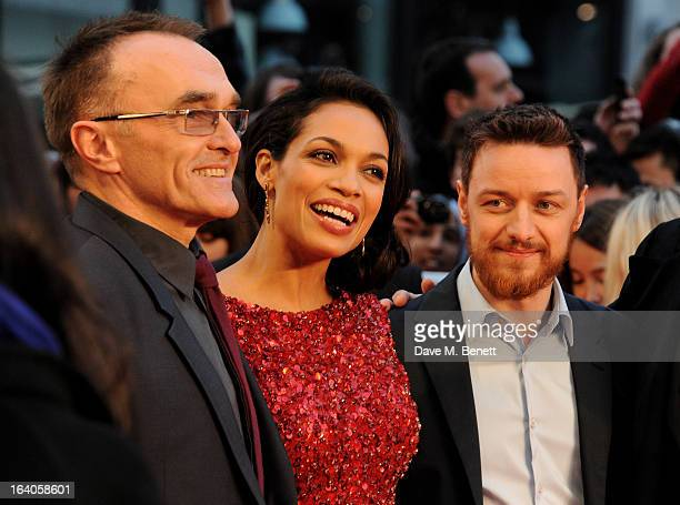 Danny Boyle Rosario Dawson and James McAvoy attend the UK Film Premiere of 'Trance' at Odeon West End on March 19 2013 in London England