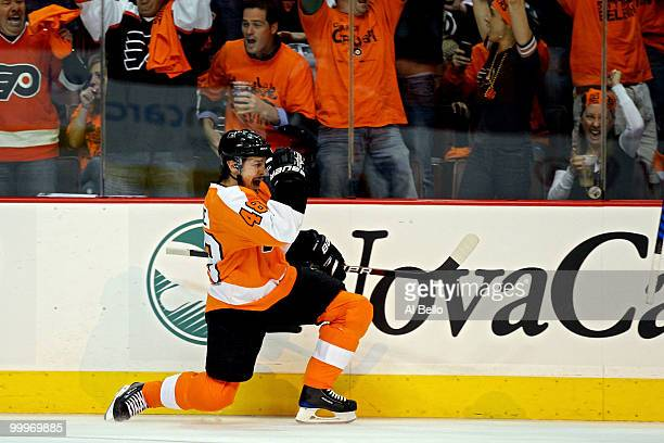 Danny Briere of the Philadelphia Flyers celebrates after scoring a goal in the first period against the Montreal Canadiens in Game 2 of the Eastern...