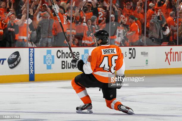 Danny Briere of the Philadelphia Flyers celebrates his overtime goal against the New Jersey Devils in Game One of the Eastern Conference Semifinals...