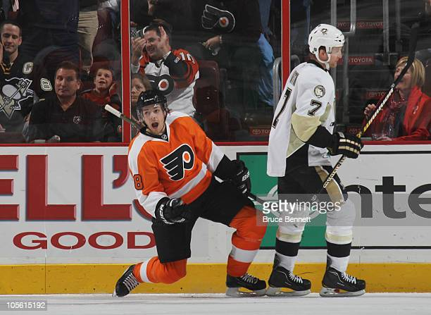 Danny Briere of the Philadelphia Flyers scores a power play goal at 643 of the first period against the Pittsburgh Penguins at the Wells Fargo Center...