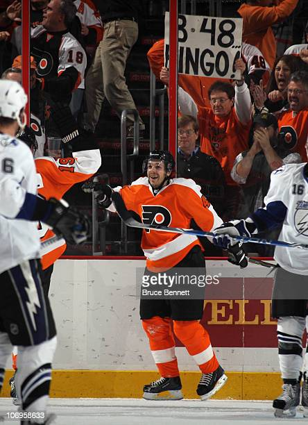 Danny Briere of the Philadelphia Flyers scores at 1804 of the first period against the Tampa Bay Lightning at the Wells Fargo Center on November 18...