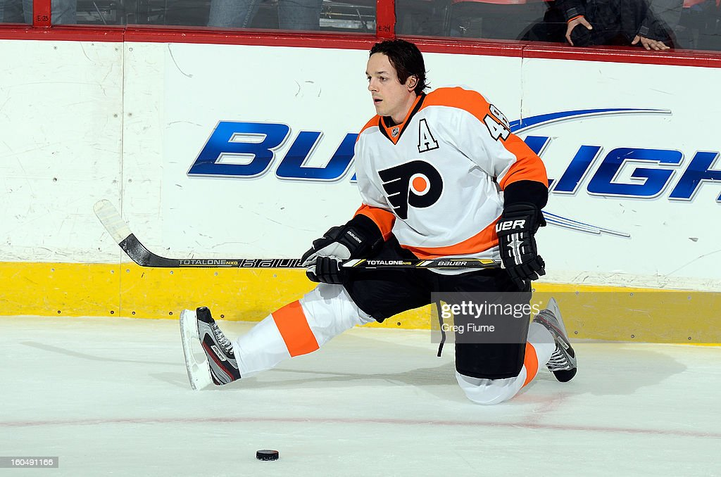 Danny Briere #48 of the Philadelphia Flyers warms up before the game against the Washington Capitals at the Verizon Center on February 1, 2013 in Washington, DC.