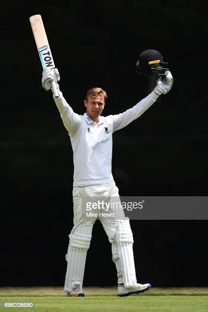 Danny Briggs of Sussex celebrates after reaching his maiden first class century during a Tour Match between Sussex and South Africa A at Arundel...
