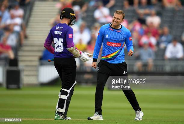 Danny Briggs of Sussex celebrates after taking the wicket of James Bracey of Gloucestershire during the Vitality Blast match between Gloucestershire...