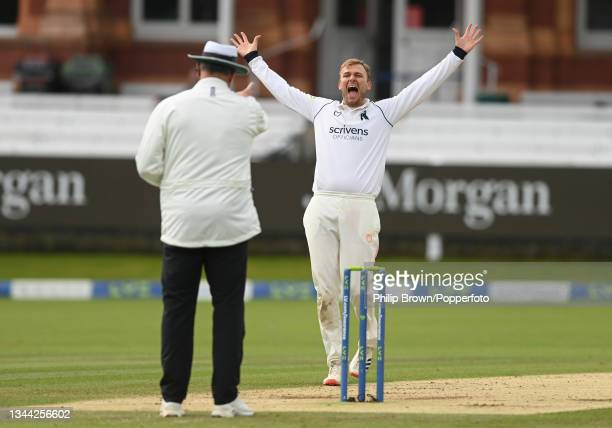 Danny Briggs of Warwickshire appeals and dismisses Rob Jones of Lancashire during the Bob Willis Trophy Final between Warwickshire and Lancashire at...