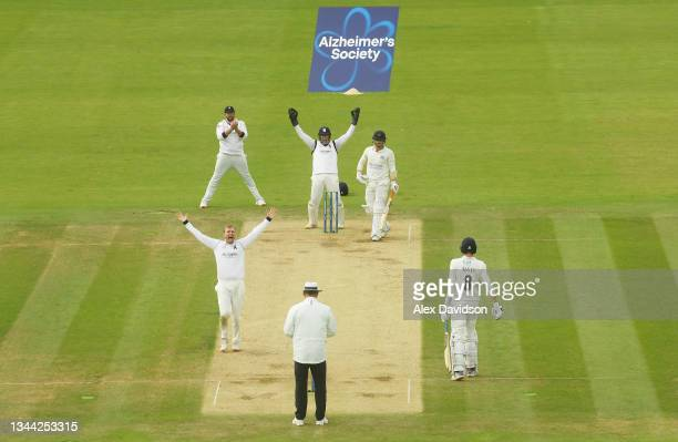 Danny Briggs of Warwickshire appeals successfully for the wicket of Rob Jones of Lancashire during Day 4 of the Bob Willis Trophy Final between...