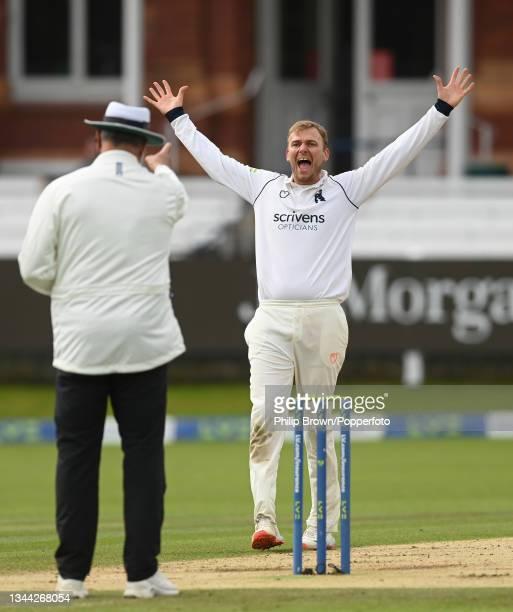 Danny Briggs of Warwickshire appeals to umpire David Millns and dismisses Rob Jones of Lancashire during the Bob Willis Trophy Final between...