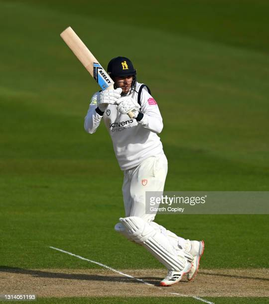 Danny Briggs of Warwickshire bats during the LV= Insurance County Championship match between Warwickshire and Essex at Edgbaston on April 23, 2021 in...