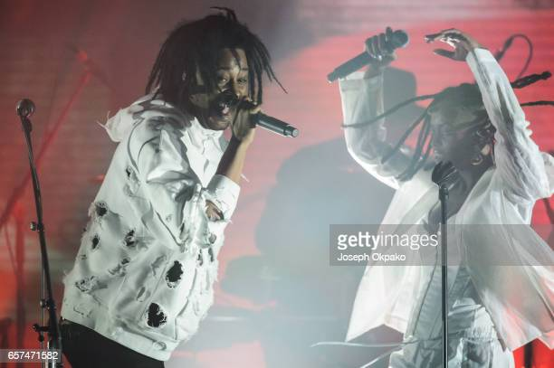 Danny Brown and Kelela perform with Gorillaz for their new album 'Humanz' live on March 24 2017 in London United Kingdom