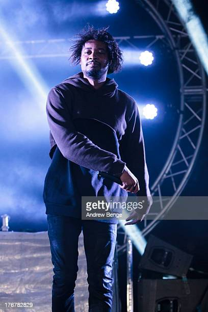 Danny Brown performs on stage on Day 3 of Beacons Festival at Heslaker Farm on August 18, 2013 in Skipton, England.