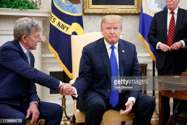 Danny Burch former United States hostage in Yemen shales hands with US President Donald Trump inside the Oval Office of the White House on March 6...