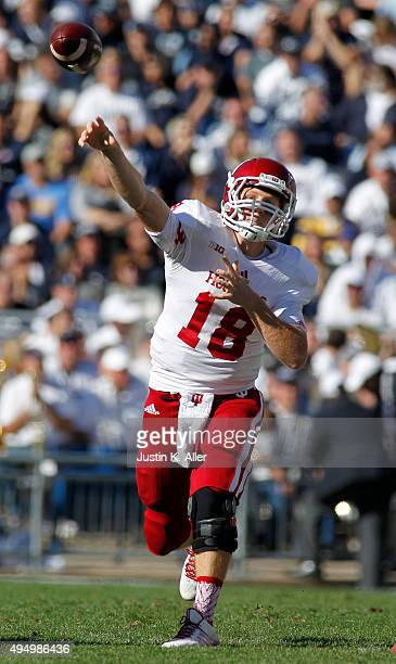 Danny Cameron of the Indiana Hoosiers in action during the game against the Penn State Nittany Lions on October 10, 2015 at Beaver Stadium in State...