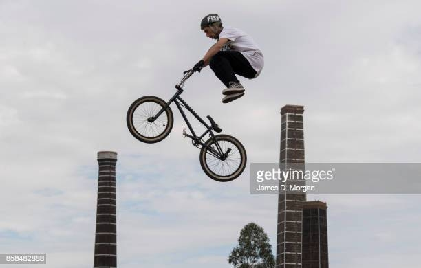 Danny Campbell a BMX bicycle freestyle athlete performs on October 7 2017 in Sydney Australia The Big Adventure at Sydney Park is part of the...