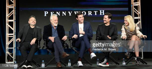 Danny Cannon Bruno Heller Jack Bannon Ben Aldridge and Paloma Faith of the television show Pennyworth speak during the EPIX Networks segment of the...