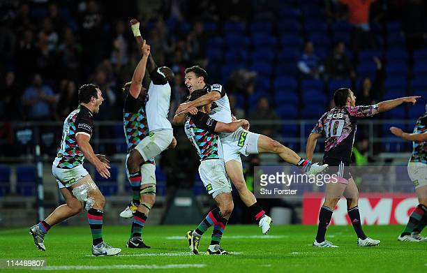 Danny Care and his Harlequins team mates celebrate on the final whistle after the Amlin Cup Final between Harlequins and Stade Francais at Cardiff...