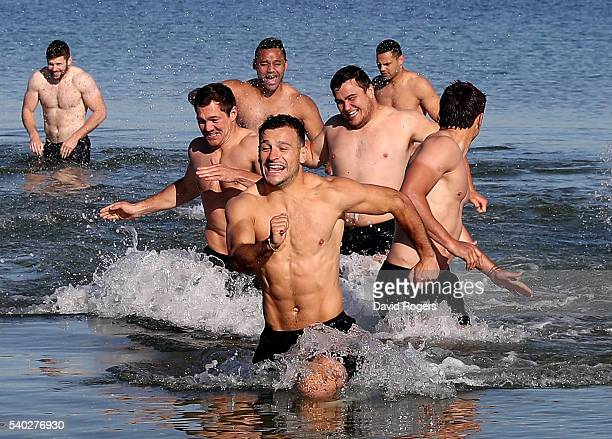Danny Care leads the race out of the ocean during the England recovery session held at St Kilda Beach on June 15 2016 in Melbourne Australia
