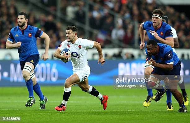 Danny Care of England breaks through the France defence to score the opening try during the RBS Six Nations match between France and England at the...