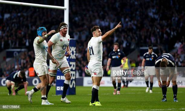 Danny Care of England celebrates after scoring his team's seventh try during the RBS Six Nations match between England and Scotland at Twickenham...