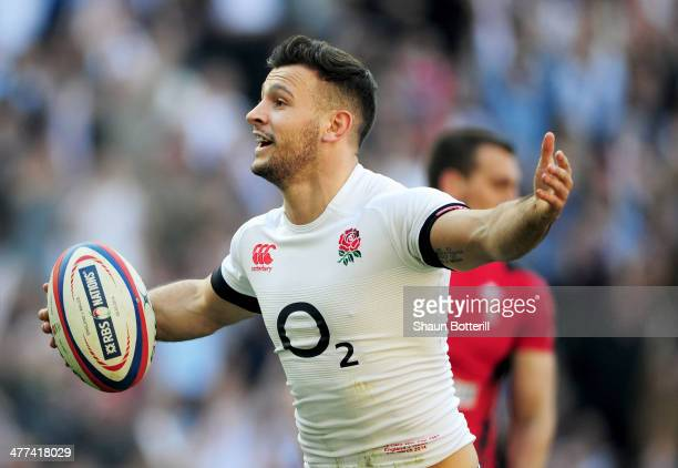 Danny Care of England celebrates as he scores their first try during the RBS Six Nations match between England and Wales at Twickenham Stadium on...