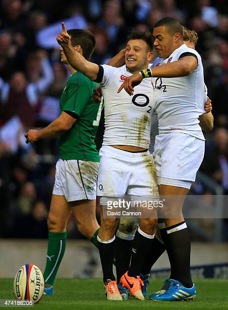 Danny Care of England celebrates his try with Luther Burrell of England during the RBS Six Nations match between England and Ireland at Twickenham...