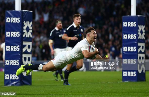 Danny Care of England dives over to score his team's seventh try during the RBS Six Nations match between England and Scotland at Twickenham Stadium...